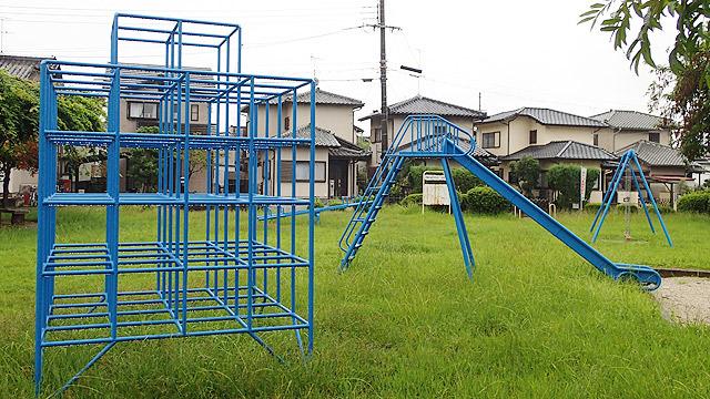 奈良の公園の遊具が青すぎる