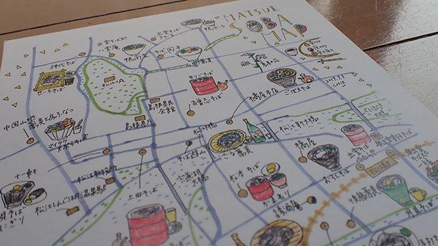 島根で見つけたという松江の蕎麦マップ。超いい。
